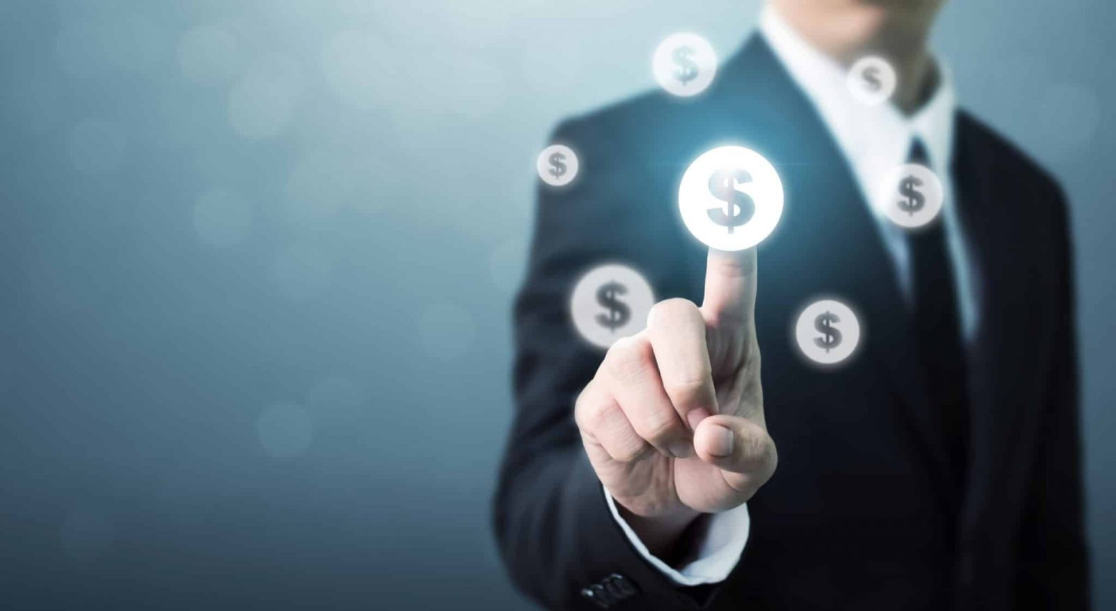 Businessman pointing dollar currency icon, Successful money financial investment concept